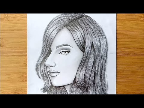 How to Draw a Girl face for BEGINNERS - step by step || Pencil sketch thumbnail