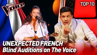 FRENCH songs in non-French-speaking countries on The Voice | Top 10