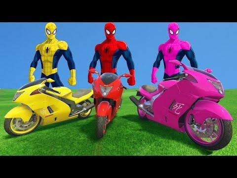 SPIDERMAN COLORS vs 3 MOTORBIKE COLORS PARTY Fun superheroes Nuresy Rhymes for Kids - 동영상