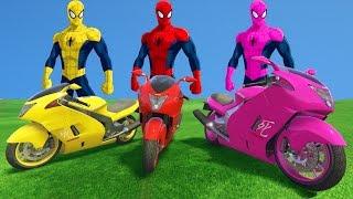 SPIDERMAN COLORS vs 3 MOTORBIKE COLORS PARTY  Fun superheroes Nuresy Rhymes for Kids