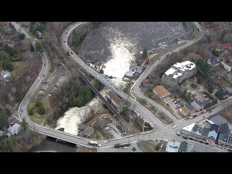 Aerial View Of Rising Water Levels, Flooding In Bracebridge, Ont.