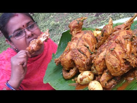 Cooking & Eating 2 Full Chicken With Eggs / Niracha Kozhi Recipe / Food Money Food