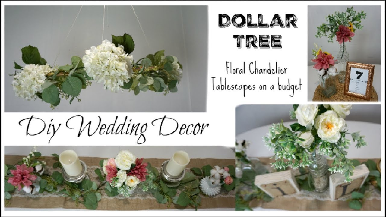 DOLLAR TREE DIY WEDDING DECOR, FLORAL CHANDELIER, CENTERPIECES ...