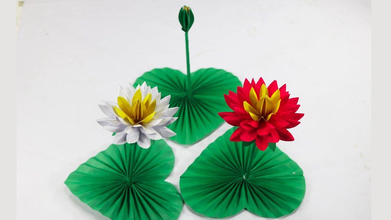 Lotus Flower Craft Lotus Flower With Paper Paper Crafts For School Diy Paper Lotus Flower