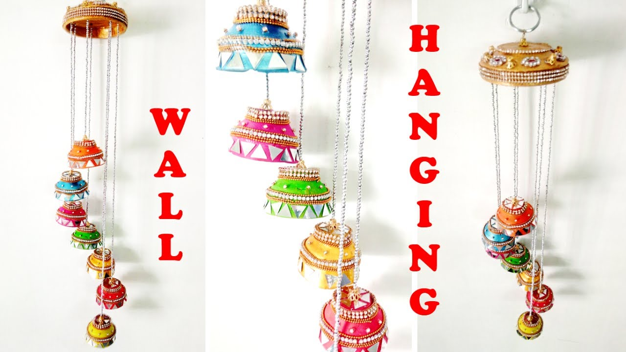 How to make beautiful wall hanging at home best out of for Best out of waste wall hanging