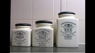 Charlotte Watson Storage Jars Flour Salt Garlic Rice Square Canisters and Vegetable Crock full look