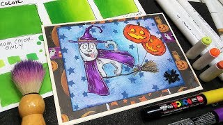 3 Ways to Blend Alcohol Markers for Beginners & Cute Witch Dog Halloween Card!
