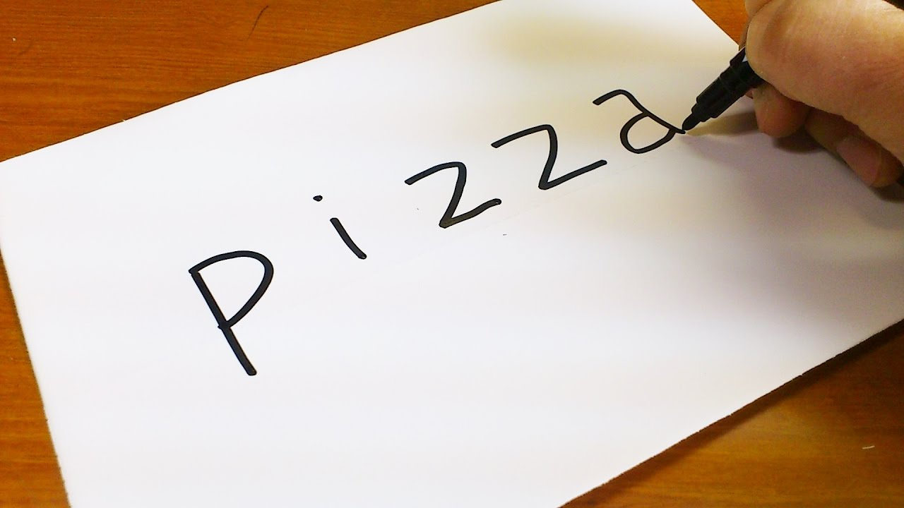How To Turn Words Pizza Into A Cartoon Lets Learn Drawing Art On