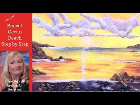 How to Paint a SUNSET OCEAN Seascape, with Acrylic Paint Lesson 1  for beginners  sky, clouds, ocean