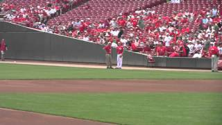 Great American Ballpark - Caden & Caleb running on field
