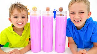 Vlad und Nikita spielen mit Barbie Color Reveal Dolls