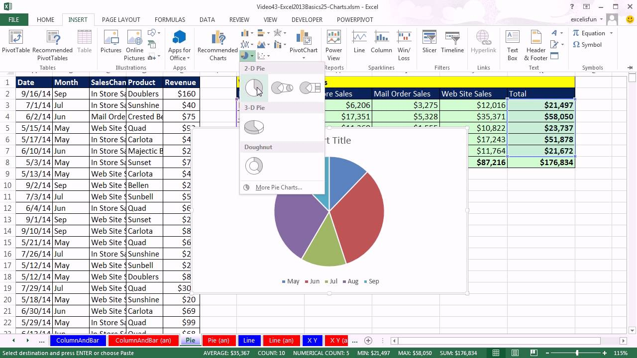 Highline excel 2013 class video 41 review of chart basics for excel