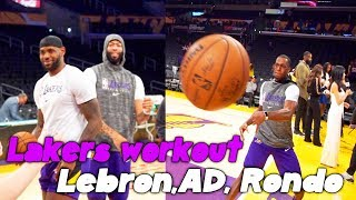 Lakers Workout Lebron, Ad, Kuz and Rondo throws Crazy passes