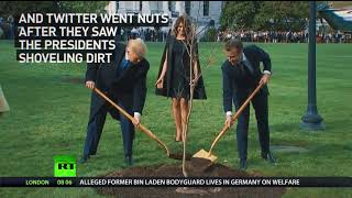 'Burying the body': Twitter goes smart-ass about Trump & Macron planting tree