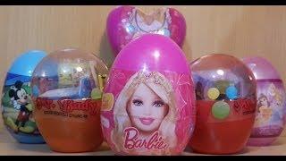 9 surprise eggs unboxing health barbie disney mickey mause ben 10