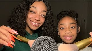 ASMR | Double mic brushing & Mouth sounds ft my sissy ❤️ (DOUBLE TINGLES)