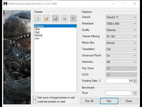 Metro Exodus: Benchmark test/Extreme setting/ x3440 4 0ghz + GTX 1070