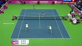 Highlights - Fed Cup Final Rubber: Hradecka/Peschke def. Kirilenko/Vesnina 64 62