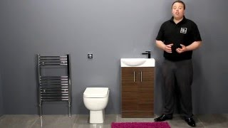 Back To Wall Toilet & Walnut Double Door Vanity Unit Bathroom Furniture