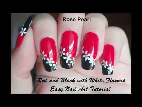 Red And Black With White Flowers Nail Art Tutorial Easy Diy Nail Art Design Youtube