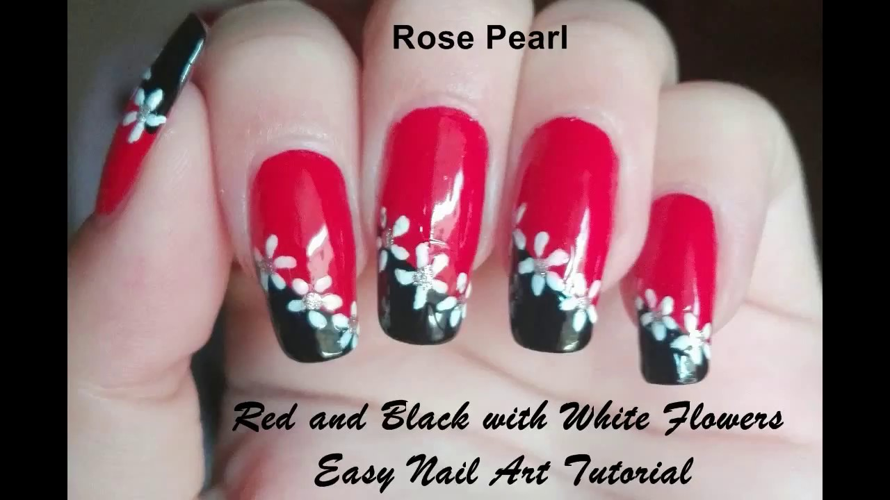 Red And Black With White Flowers Nail Art Tutorial Easy Diy Nail