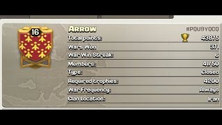 Clash Of Clans first 16th level clan .......ARROW