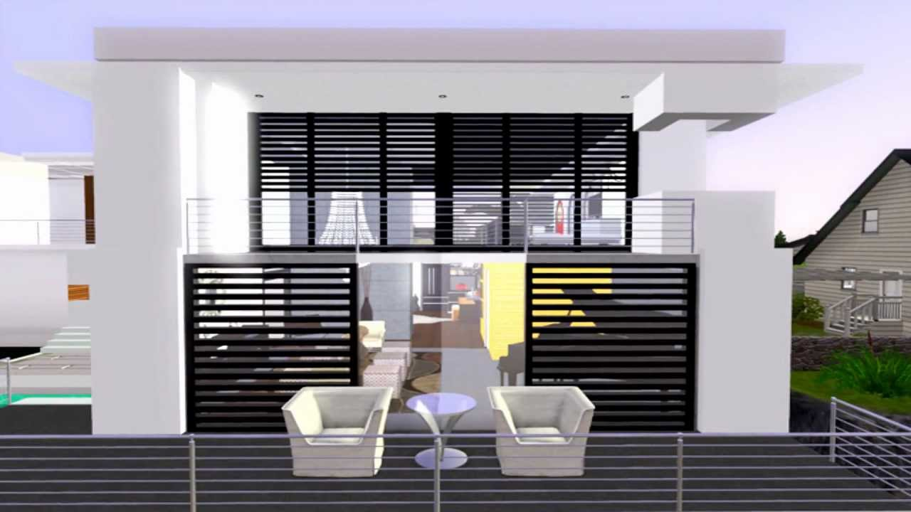 The sims 3 modern house california costal youtube for Sims interior designs 1