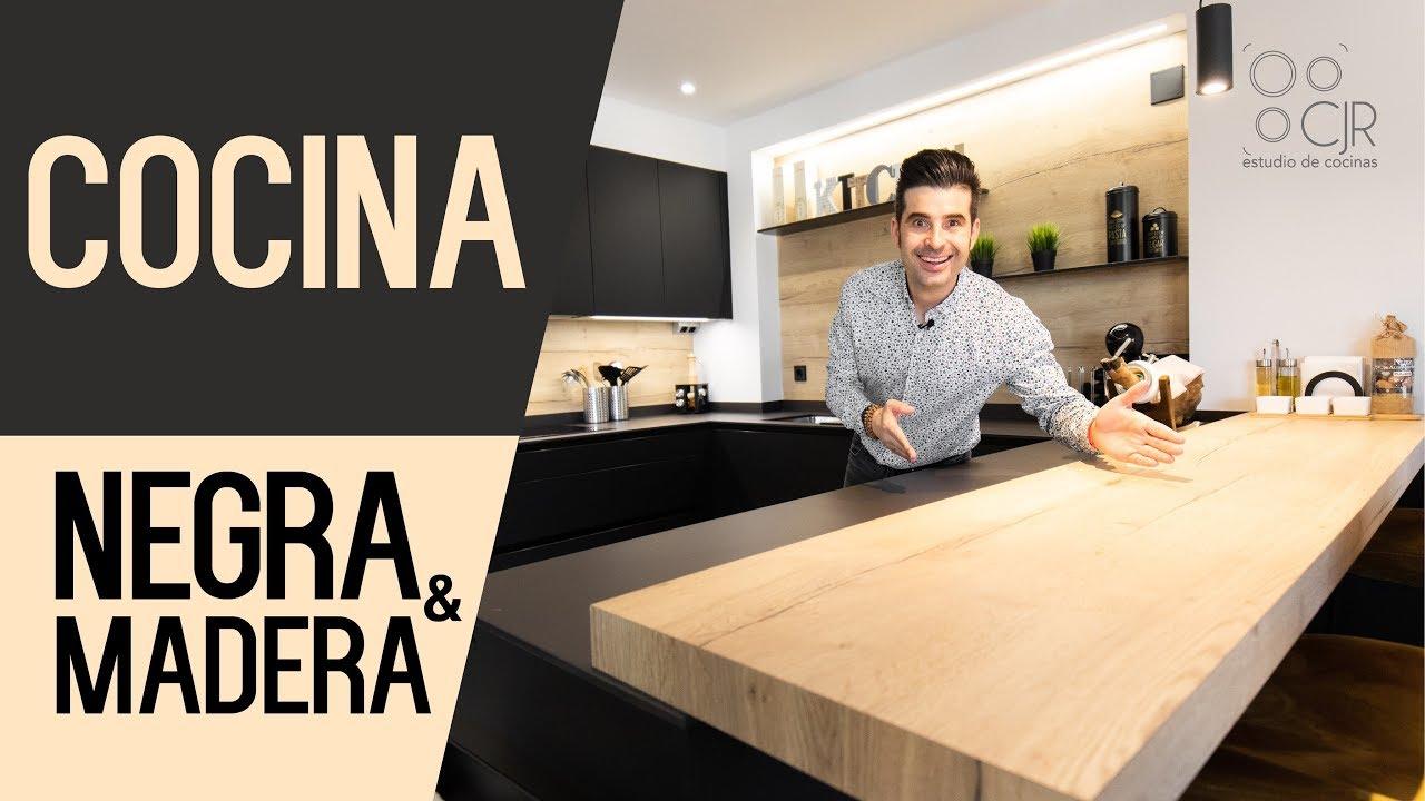 Cocina negra y encimera en madera cocinas modernas cjr - Cocinas negras ...