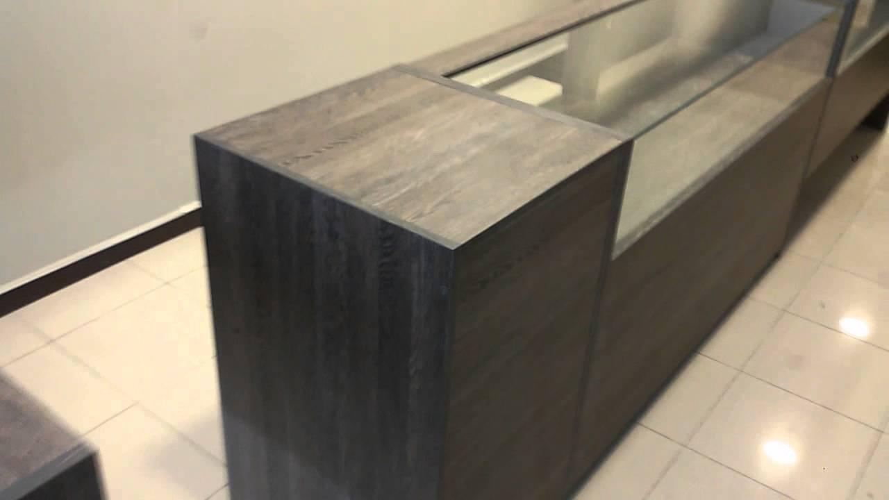 Mostrador vitrina y mueble caja wengue youtube for Mueble caja registradora