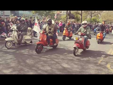 Manchester st George's day parade scooters