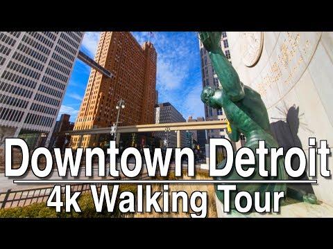 Walking Tour Of Downtown Detroit | 4k Dji Mobile 2 | Ambient Music