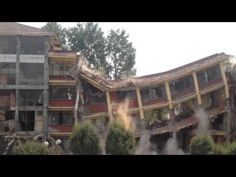 Earthquake damaged Prasutigriha building demolish