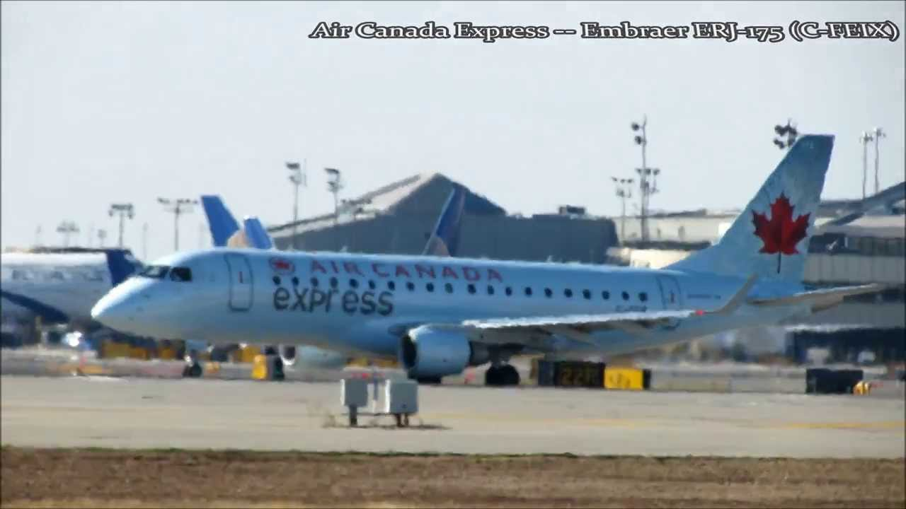 Air Canada Express Embraer ERJ-175 Taxi and Takeoff at Newark Liberty  International Airport