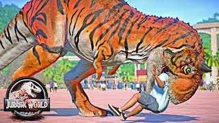 Tiger Carnotaurus vs Northfire'ın Baryonyx T-REX, Blue Dinosaurs Fight 🌍 JURASSIC WORLD EVOLUTION