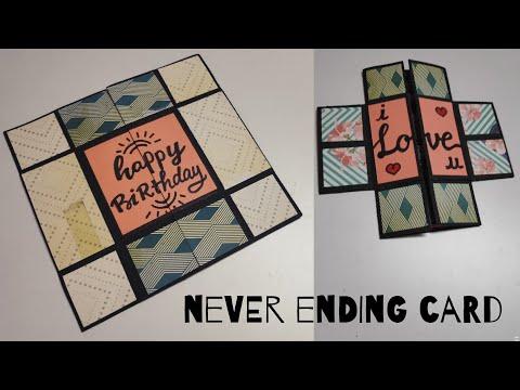 handmade card for birthday | diy birthday card | endless card | never ending card | by crafteholic