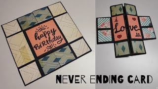 handmade card for birthday | diy birthday card | endless card | never ending card | by crafteholic