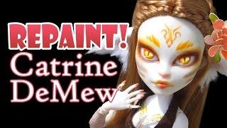 Repaint! Catrine DeMew Nature Cat Monster High Ooak Custom Face Up!