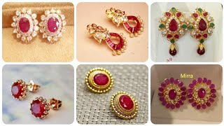 Outstanding And Latest Designer Ruby Stud Designs in Gold