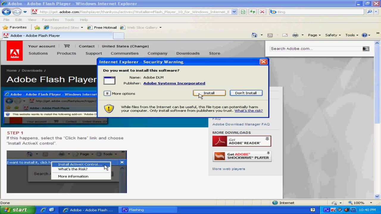 Adobe flash player for internet explorer 8