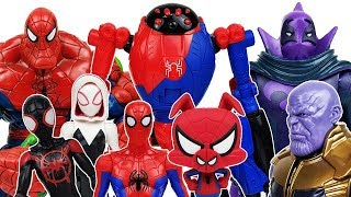 Spider-Man Into the Spider-Verse & Thanos, Miles Morales, Gwen, Ham, Avengers, Hulk Toys Play