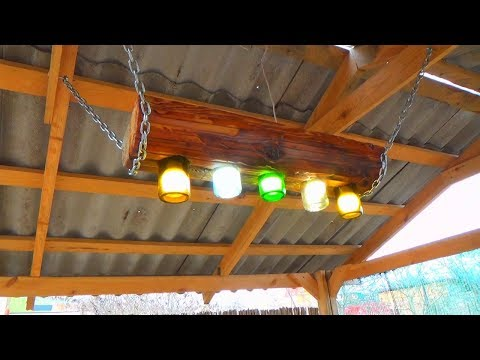 How To Make A Colored LED Lamp From Wood and bottles. СВЕТИЛЬНИК СВОИМИ РУКАМИ.