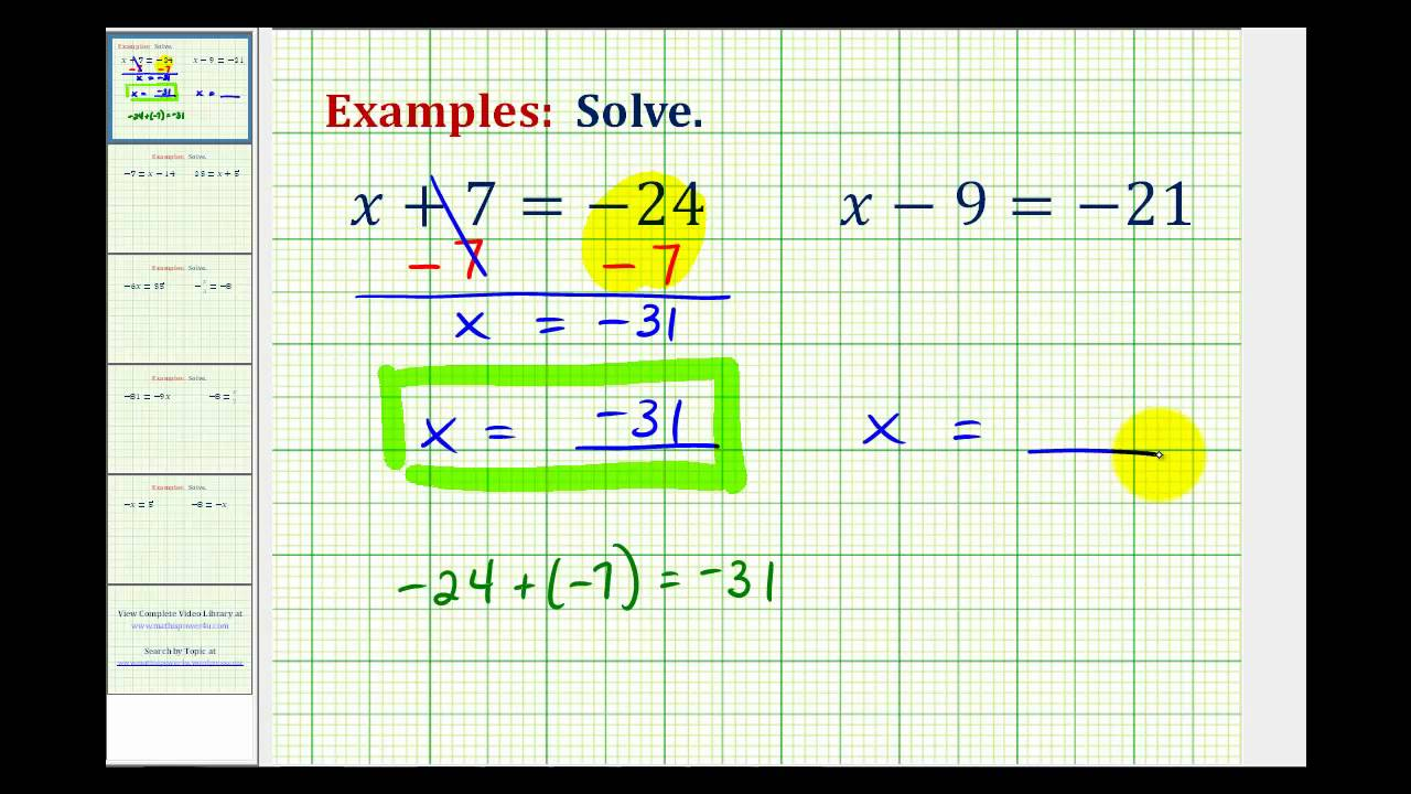 hight resolution of Solving One-Step Equations with Integers (with videos