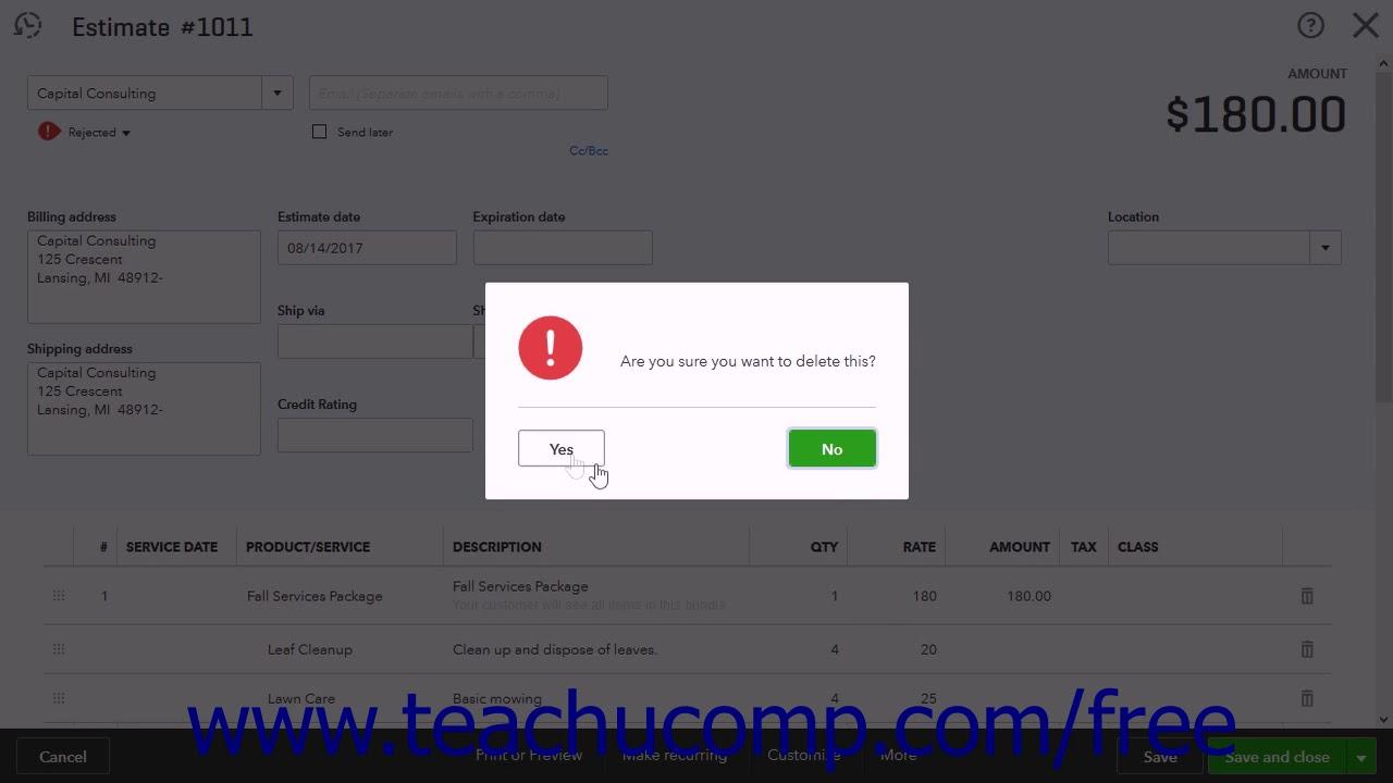 QuickBooks Online Plus 2017 Tutorial Deleting Estimates Intuit Training