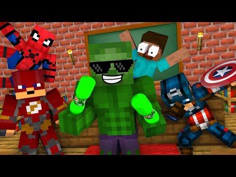 Monster School : SUPER HEROES BOTTLE FLIP CHALLENGE - Minecraft Animation