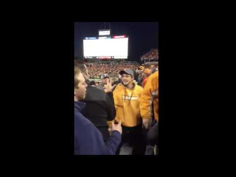 Tennessee volunteer fans fight at music city  bowl in Nashville Tennessee. 2016