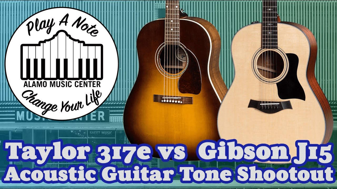 Taylor 317e Grand Pacific vs Gibson J15 - Acoustic Guitar Tone Shootout -  New for 2019