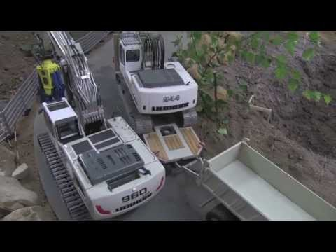 RC Excavators LIEBHERR arriving at the RC Demolition Site - PART 1