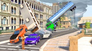 Beamng drive - 300mph+ Strong Wind Hurricane car Crashes Flying