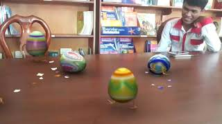 Funny Eggs running after on the table