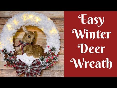 Christmas Crafts: Easy Winter Deer Loopy Yarn Wreath
